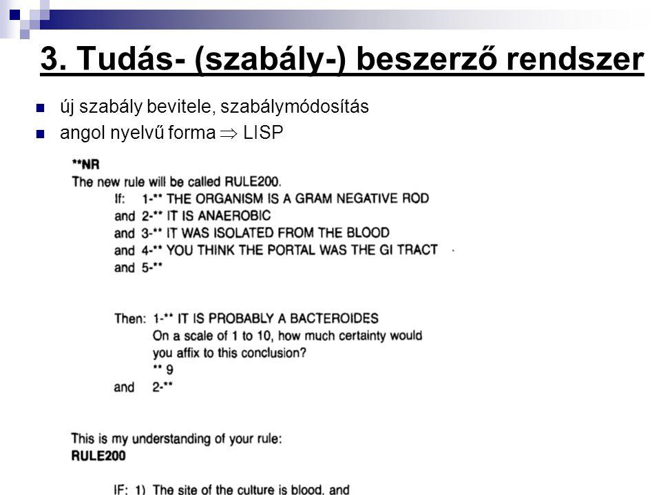 3. Tudás- (szabály-) beszerző rendszer új szabály bevitele, szabálymódosítás angol nyelvű forma  LISP