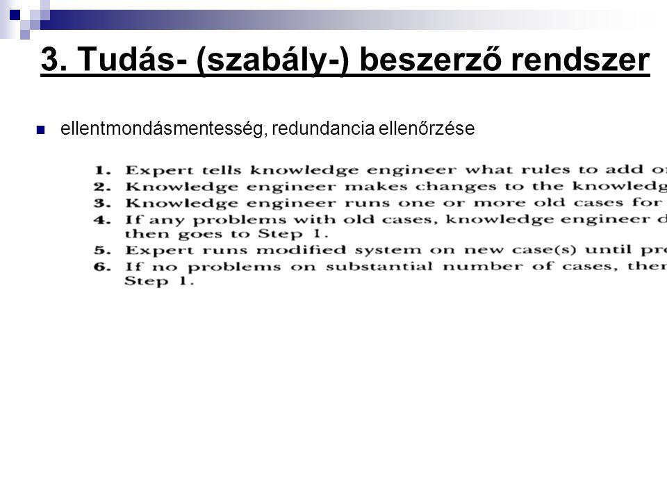 3. Tudás- (szabály-) beszerző rendszer ellentmondásmentesség, redundancia ellenőrzése