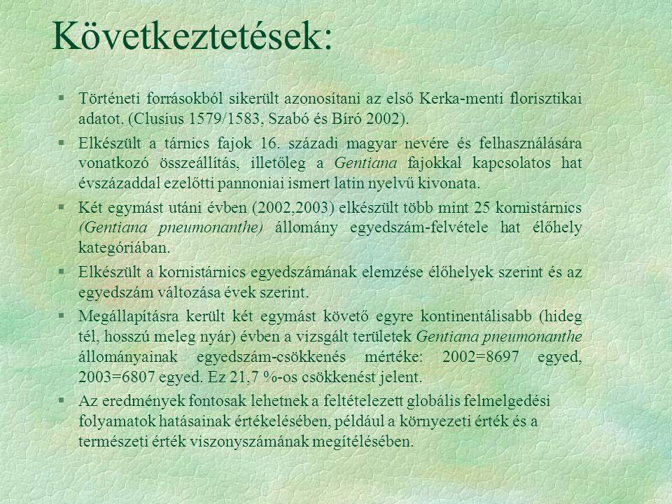 Következtetések: §Történeti forrásokból sikerült azonosítani az első Kerka-menti florisztikai adatot.