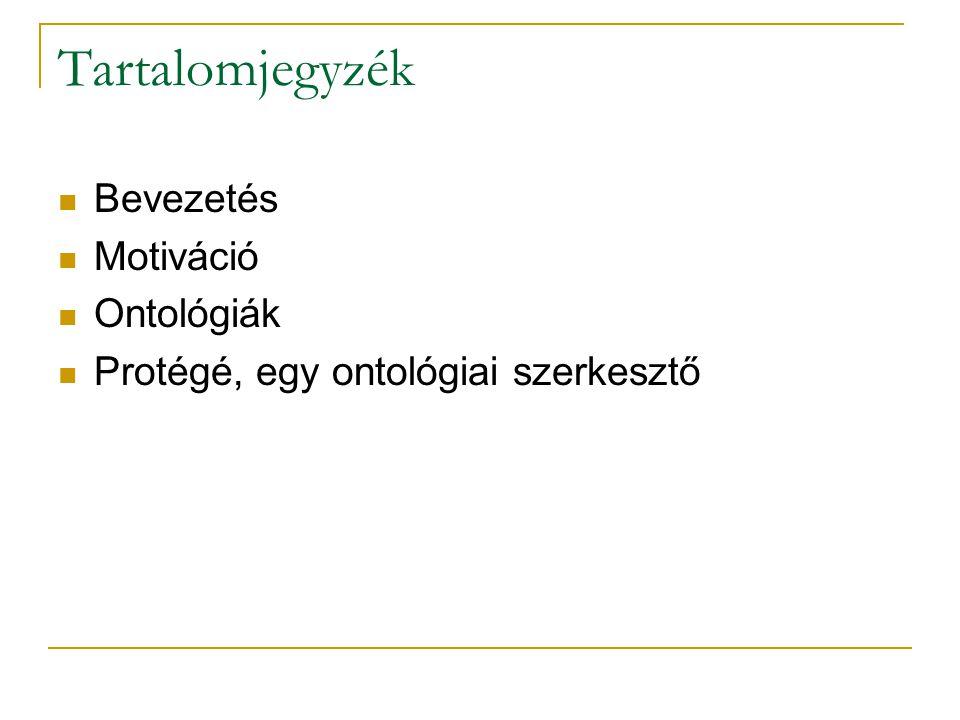 Tartalomjegyzék Bevezetés Motiváció Ontológiák Protégé, egy ontológiai szerkesztő