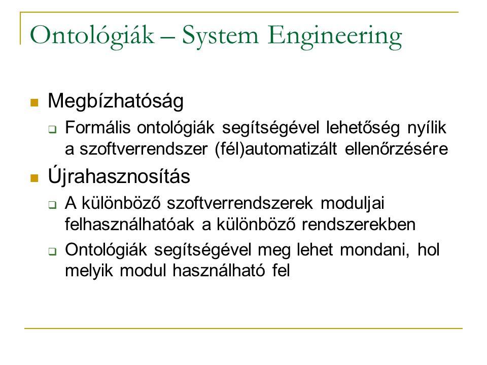 Ontológiák – System Engineering Megbízhatóság  Formális ontológiák segítségével lehetőség nyílik a szoftverrendszer (fél)automatizált ellenőrzésére Újrahasznosítás  A különböző szoftverrendszerek moduljai felhasználhatóak a különböző rendszerekben  Ontológiák segítségével meg lehet mondani, hol melyik modul használható fel