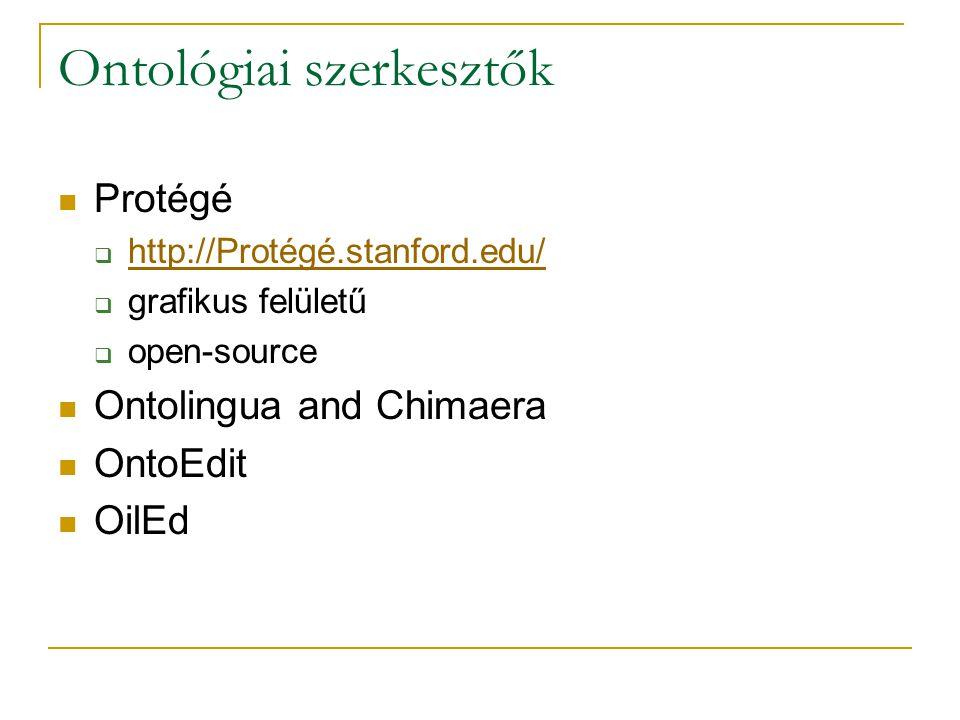 Ontológiai szerkesztők Protégé  http://Protégé.stanford.edu/ http://Protégé.stanford.edu/  grafikus felületű  open-source Ontolingua and Chimaera OntoEdit OilEd
