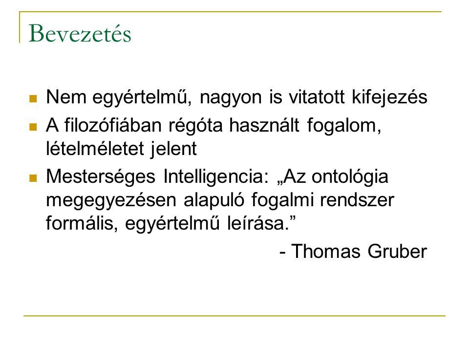"""Bevezetés Nem egyértelmű, nagyon is vitatott kifejezés A filozófiában régóta használt fogalom, lételméletet jelent Mesterséges Intelligencia: """"Az ontológia megegyezésen alapuló fogalmi rendszer formális, egyértelmű leírása. - Thomas Gruber"""