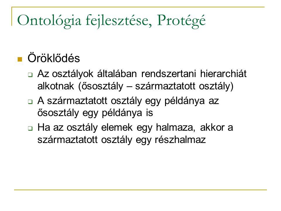 Ontológia fejlesztése, Protégé Öröklődés  Az osztályok általában rendszertani hierarchiát alkotnak (ősosztály – származtatott osztály)  A származtatott osztály egy példánya az ősosztály egy példánya is  Ha az osztály elemek egy halmaza, akkor a származtatott osztály egy részhalmaz