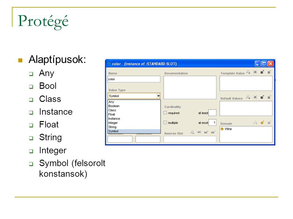 Alaptípusok:  Any  Bool  Class  Instance  Float  String  Integer  Symbol (felsorolt konstansok)