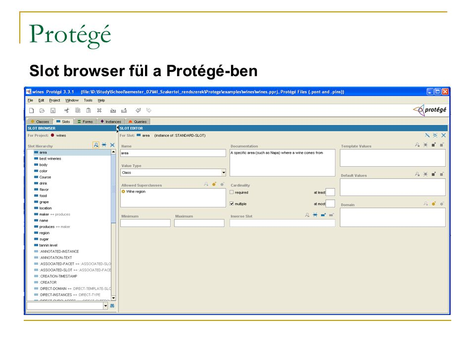 Protégé Slot browser fül a Protégé-ben