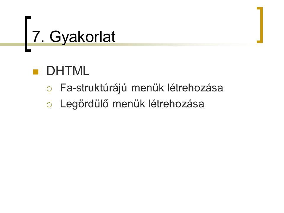 7. Gyakorlat DHTML  Fa-struktúrájú menük létrehozása  Legördülő menük létrehozása