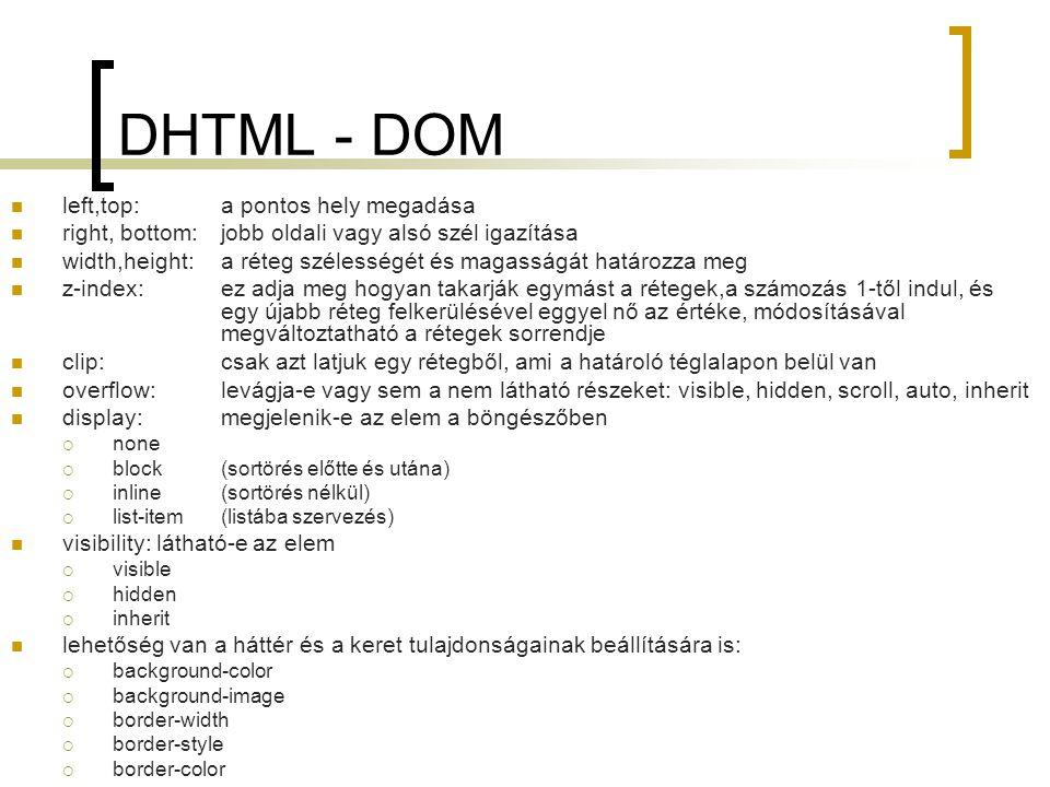 DHTML - DOM left,top:a pontos hely megadása right, bottom:jobb oldali vagy alsó szél igazítása width,height:a réteg szélességét és magasságát határozz