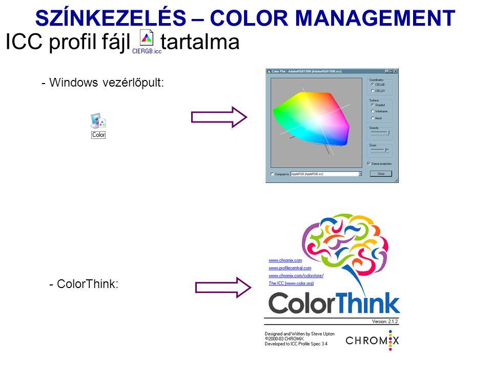 ICC profil fájl tartalma - Windows vezérlőpult: - ColorThink: SZÍNKEZELÉS – COLOR MANAGEMENT