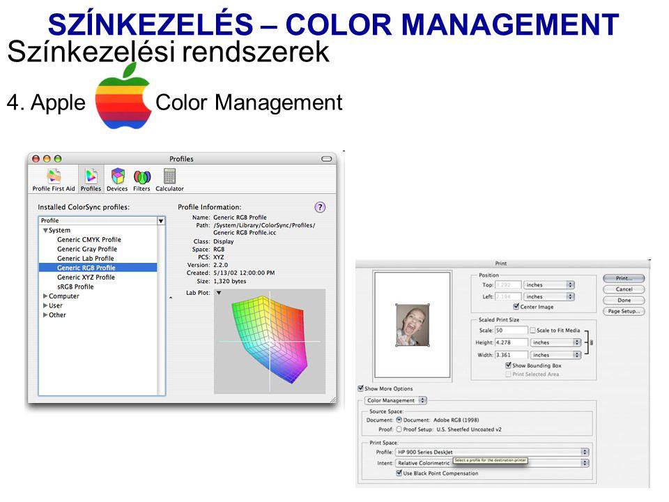 4. Apple Color Management Színkezelési rendszerek SZÍNKEZELÉS – COLOR MANAGEMENT