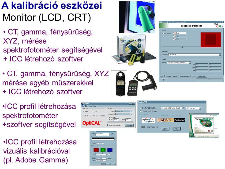 A kalibráció eszközei Monitor (LCD, CRT) ICC profil létrehozása vizuális kalibrációval (pl.