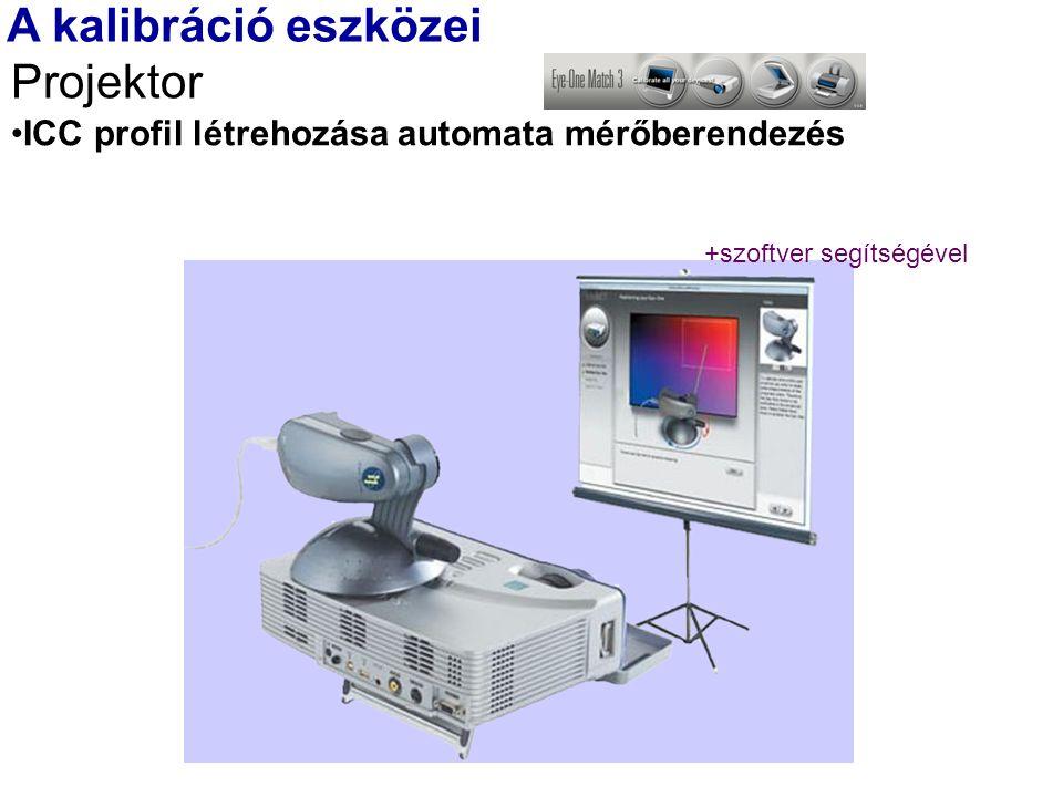 A kalibráció eszközei Projektor ICC profil létrehozása automata mérőberendezés +szoftver segítségével
