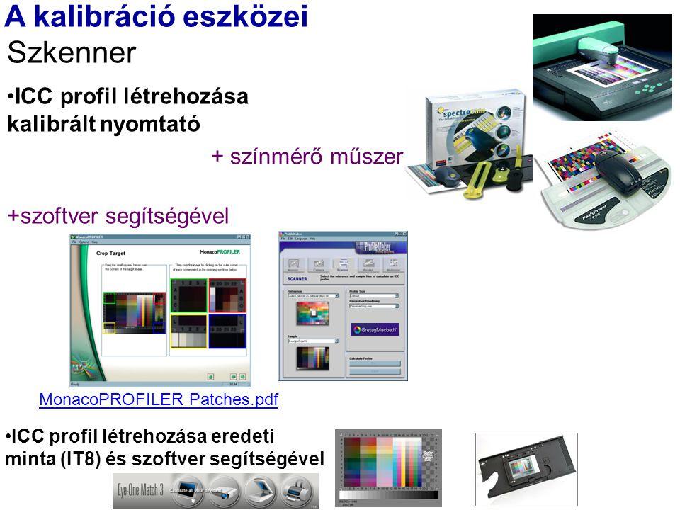 A kalibráció eszközei Szkenner ICC profil létrehozása kalibrált nyomtató + színmérő műszer +szoftver segítségével ICC profil létrehozása eredeti minta (IT8) és szoftver segítségével MonacoPROFILER Patches.pdf