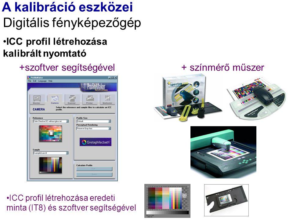 A kalibráció eszközei Digitális fényképezőgép ICC profil létrehozása kalibrált nyomtató +szoftver segítségével + színmérő műszer ICC profil létrehozása eredeti minta (IT8) és szoftver segítségével