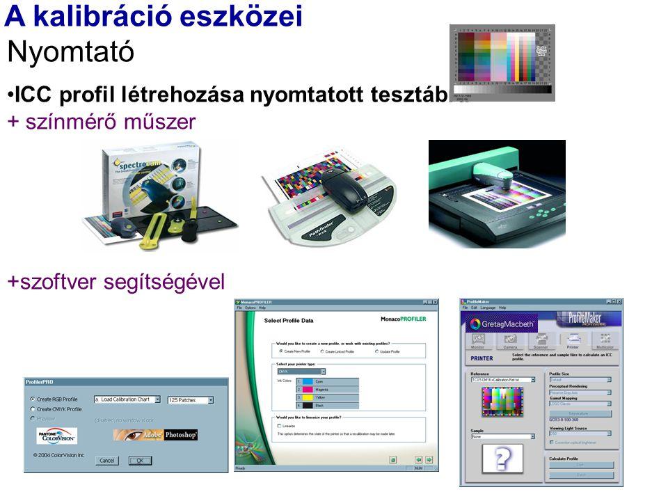 A kalibráció eszközei Nyomtató ICC profil létrehozása nyomtatott tesztábra + színmérő műszer +szoftver segítségével