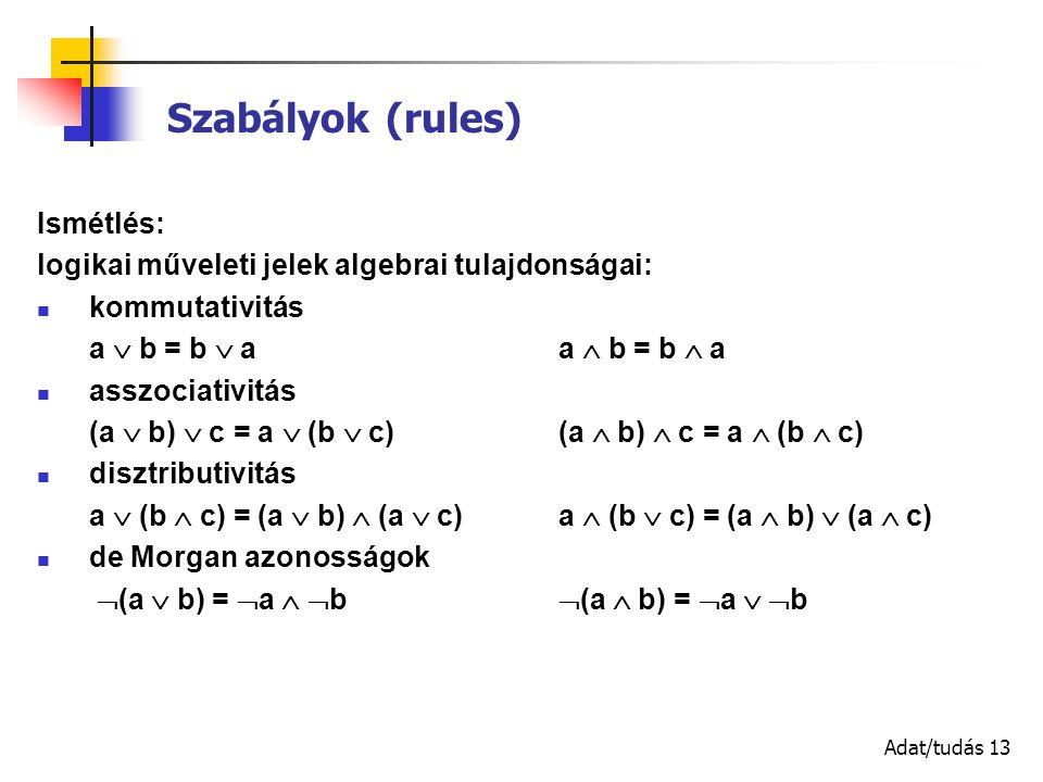 Adat/tudás 13 Szabályok (rules) Ismétlés: logikai műveleti jelek algebrai tulajdonságai: kommutativitás a  b = b  aa  b = b  a asszociativitás (a  b)  c = a  (b  c) (a  b)  c = a  (b  c) disztributivitás a  (b  c) = (a  b)  (a  c) a  (b  c) = (a  b)  (a  c) de Morgan azonosságok  (a  b) =  a   b  (a  b) =  a   b