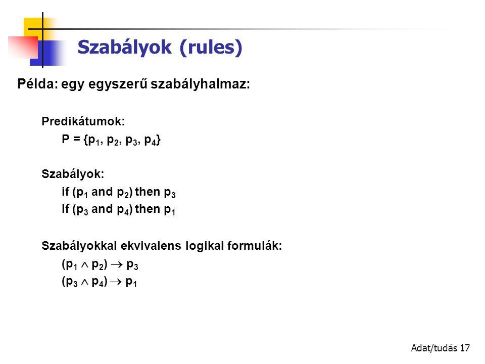 Adat/tudás 17 Szabályok (rules) Példa: egy egyszerű szabályhalmaz: Predikátumok: P = {p 1, p 2, p 3, p 4 } Szabályok: if (p 1 and p 2 ) then p 3 if (p 3 and p 4 ) then p 1 Szabályokkal ekvivalens logikai formulák: (p 1  p 2 )  p 3 (p 3  p 4 )  p 1