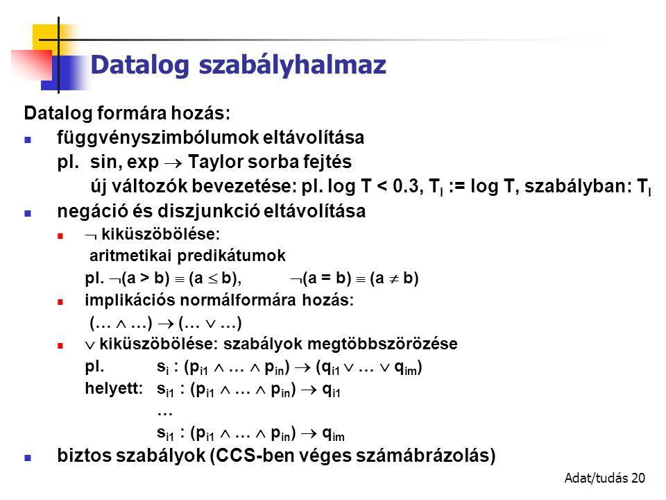 Adat/tudás 20 Datalog szabályhalmaz Datalog formára hozás: függvényszimbólumok eltávolítása pl.