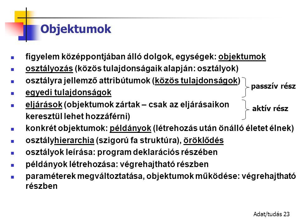 Adat/tudás 23 figyelem középpontjában álló dolgok, egységek: objektumok osztályozás (közös tulajdonságaik alapján: osztályok) osztályra jellemző attribútumok (közös tulajdonságok) egyedi tulajdonságok eljárások (objektumok zártak – csak az eljárásaikon keresztül lehet hozzáférni) konkrét objektumok: példányok (létrehozás után önálló életet élnek) osztályhierarchia (szigorú fa struktúra), öröklődés osztályok leírása: program deklarációs részében példányok létrehozása: végrehajtható részben paraméterek megváltoztatása, objektumok működése: végrehajtható részben Objektumok passzív rész aktív rész