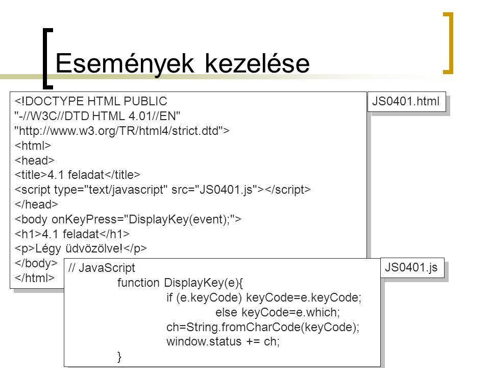 Események kezelése <!DOCTYPE HTML PUBLIC -//W3C//DTD HTML 4.01//EN http://www.w3.org/TR/html4/strict.dtd > 4.1 feladat 4.1 feladat Légy üdvözölve.