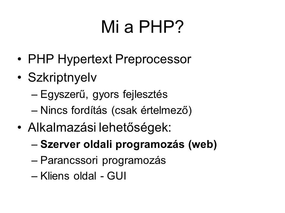 Szerver oldali programozás Webszerver: –Apache HTTP Server PHP értelmező (interpreter) modul: –PHP szkript HTML Adatbázis (opcionális): –MySQL, PostgreSQL, Oracle, IBM DB2, stb.