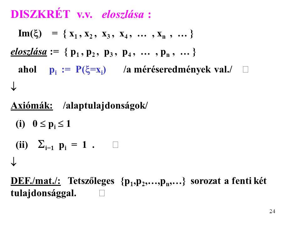 24 DISZKRÉT v.v. eloszlása : Im(  ) = { x 1, x 2, x 3, x 4, …, x n, … } eloszlása := { p 1, p 2, p 3, p 4, …, p n, … } ahol p i := P(  =x i ) /a mér
