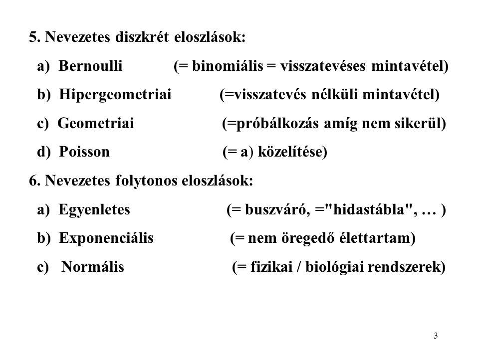 3 5. Nevezetes diszkrét eloszlások: a) Bernoulli (= binomiális = visszatevéses mintavétel) b) Hipergeometriai (=visszatevés nélküli mintavétel) c) Geo