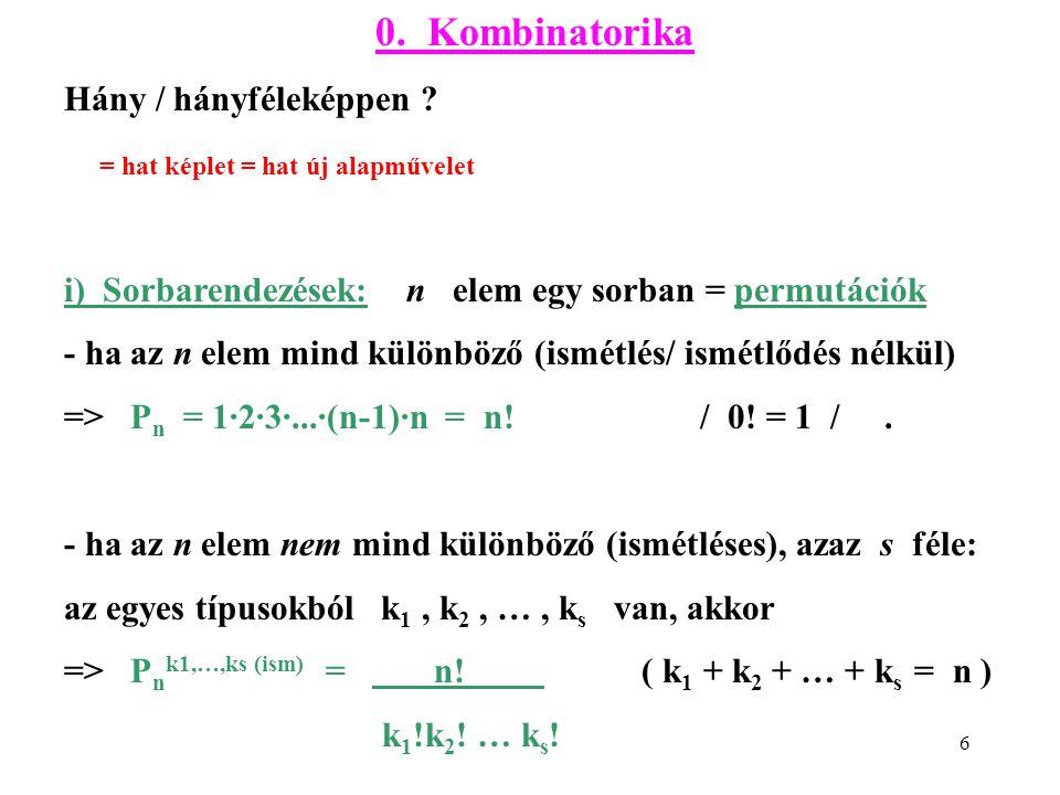 6 0. Kombinatorika Hány / hányféleképpen ? = hat képlet = hat új alapművelet i) Sorbarendezések: n elem egy sorban = permutációk - ha az n elem mind k