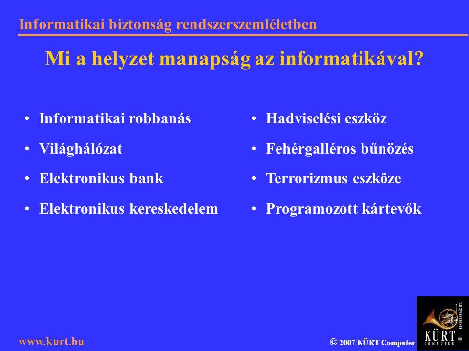 Informatikai biztonság rendszerszemléletben © 2007 KÜRT Computer www.kurt.hu Informatikai robbanás Világhálózat Elektronikus bank Elektronikus kereske