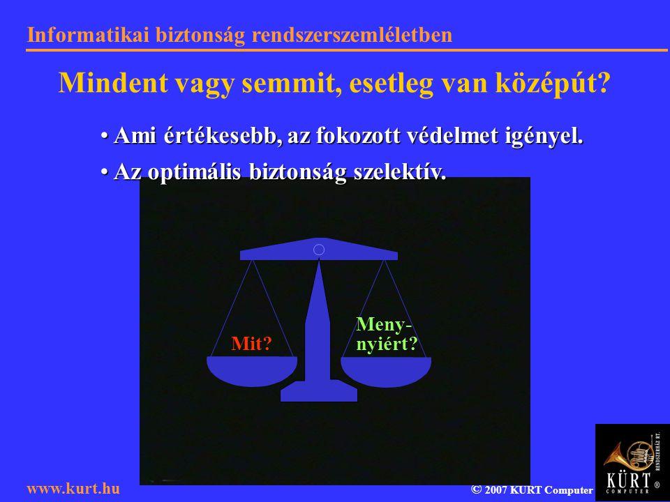 Informatikai biztonság rendszerszemléletben © 2007 KÜRT Computer www.kurt.hu Mindent vagy semmit, esetleg van középút? Ami értékesebb, az fokozott véd