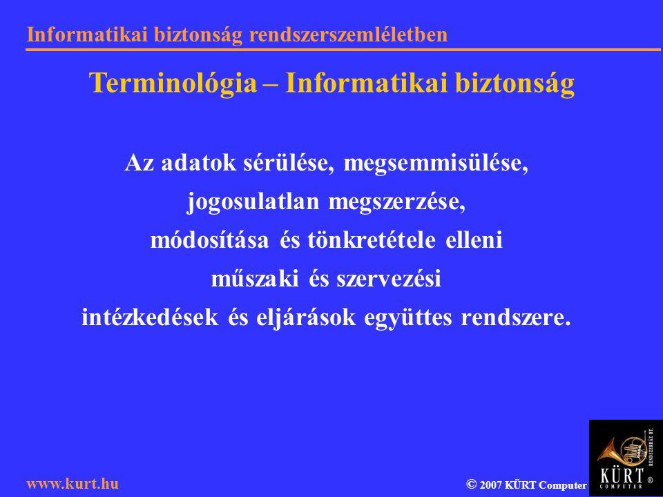 Informatikai biztonság rendszerszemléletben © 2007 KÜRT Computer www.kurt.hu Az adatok sérülése, megsemmisülése, jogosulatlan megszerzése, módosítása