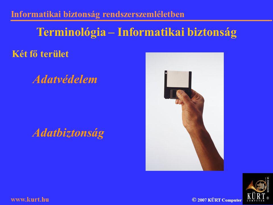 Informatikai biztonság rendszerszemléletben © 2007 KÜRT Computer www.kurt.hu Két fő terület Adatvédelem Adatbiztonság Terminológia – Informatikai bizt