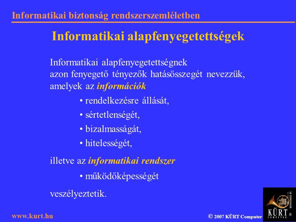 Informatikai biztonság rendszerszemléletben © 2007 KÜRT Computer www.kurt.hu Informatikai alapfenyegetettségek Informatikai alapfenyegetettségnek azon
