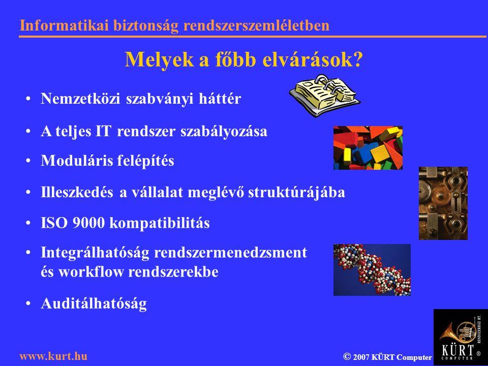 Informatikai biztonság rendszerszemléletben © 2007 KÜRT Computer www.kurt.hu Nemzetközi szabványi háttér A teljes IT rendszer szabályozása Moduláris f