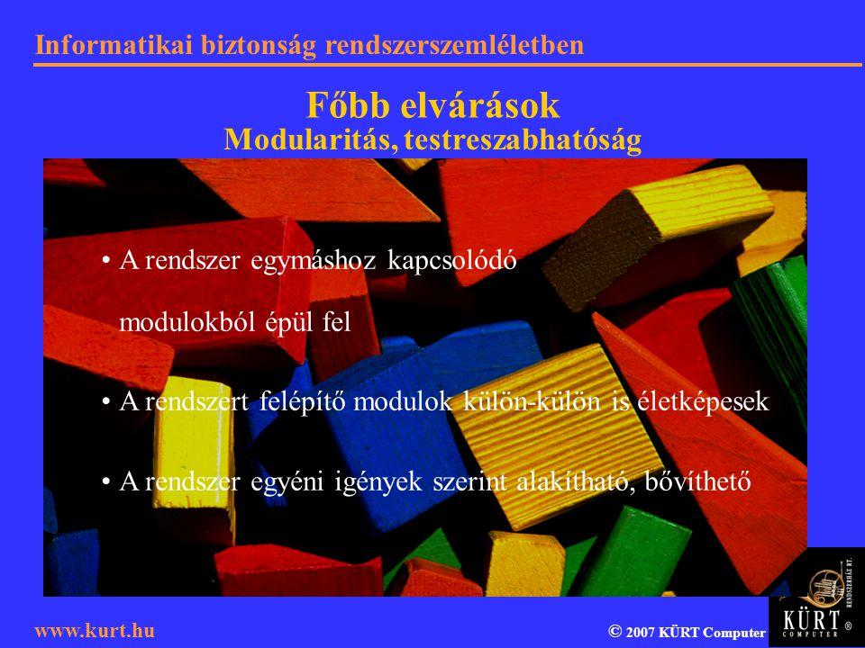 Informatikai biztonság rendszerszemléletben © 2007 KÜRT Computer www.kurt.hu A rendszer egymáshoz kapcsolódó modulokból épül fel A rendszert felépítő