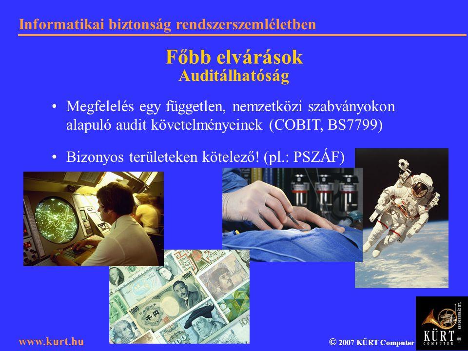 Informatikai biztonság rendszerszemléletben © 2007 KÜRT Computer www.kurt.hu Megfelelés egy független, nemzetközi szabványokon alapuló audit követelmé