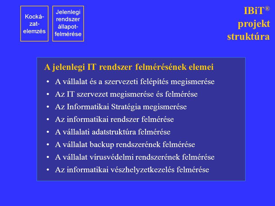 Kocká- zat- elemzés Jelenlegi rendszer állapot- felmérése IBiT ® projekt struktúra A vállalat és a szervezeti felépítés megismerése Az IT szervezet me