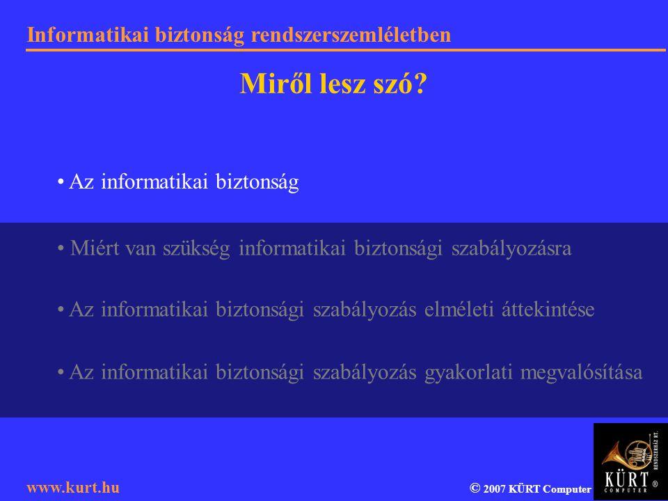 Informatikai biztonság rendszerszemléletben © 2007 KÜRT Computer www.kurt.hu Miről lesz szó? Az informatikai biztonsági szabályozás gyakorlati megvaló