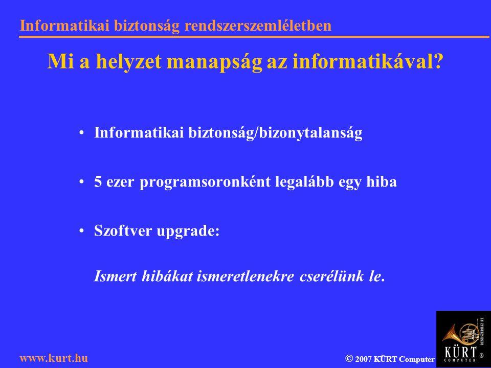Informatikai biztonság rendszerszemléletben © 2007 KÜRT Computer www.kurt.hu Informatikai biztonság/bizonytalanság 5 ezer programsoronként legalább eg