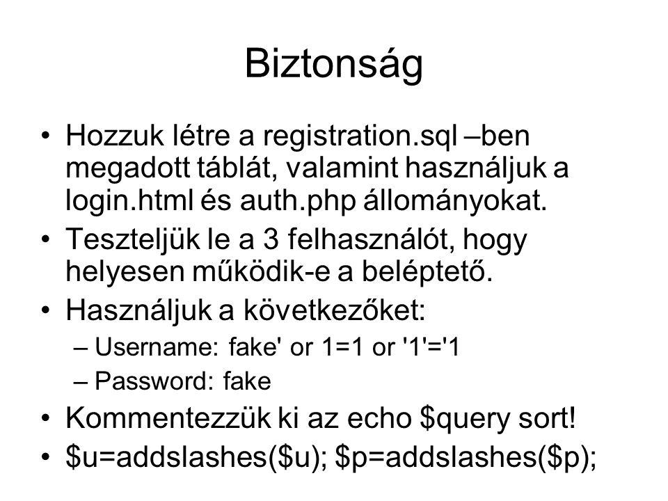 Biztonság Hozzuk létre a registration.sql –ben megadott táblát, valamint használjuk a login.html és auth.php állományokat. Teszteljük le a 3 felhaszná