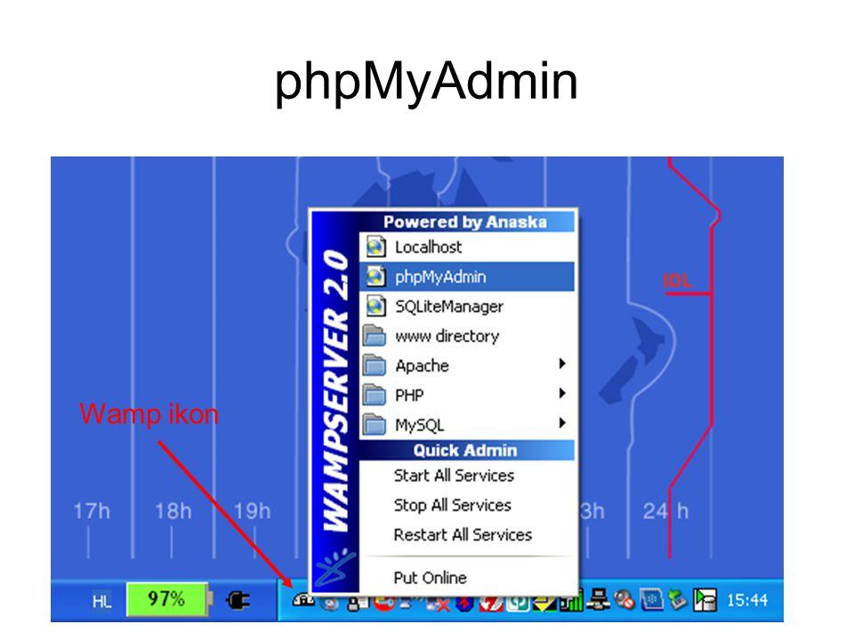 phpMyAdmin - Adatbázisok Adatbázisok Új adatbázis
