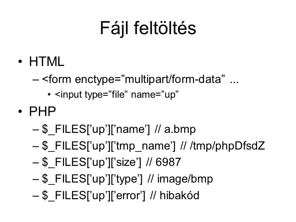 Fájl feltöltés HTML –<form enctype= multipart/form-data ...
