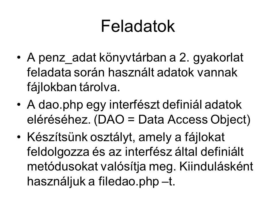 Feladatok A penz_adat könyvtárban a 2.
