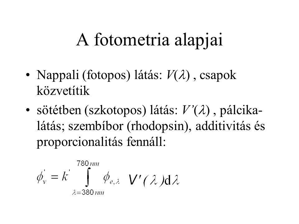 A fotometria alapjai Nappali (fotopos) látás: V( ), csapok közvetítik sötétben (szkotopos) látás: V'( ), pálcika- látás; szembíbor (rhodopsin), additi