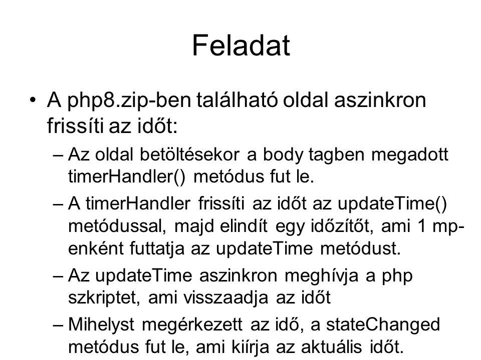 Feladat A php8.zip-ben található oldal aszinkron frissíti az időt: –Az oldal betöltésekor a body tagben megadott timerHandler() metódus fut le.