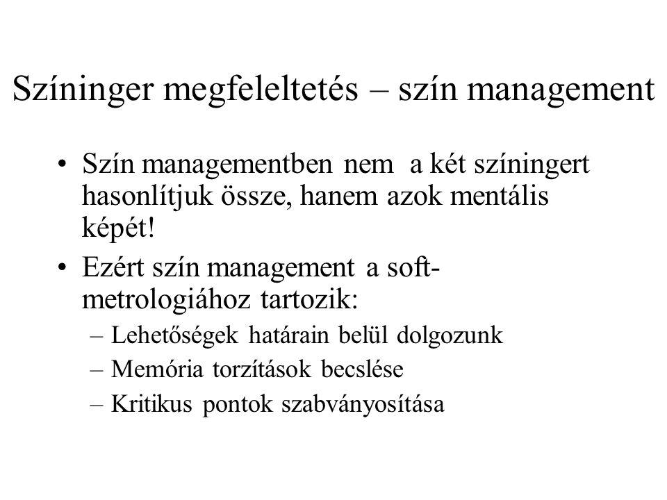 Színinger megfeleltetés – szín management Szín managementben nem a két színingert hasonlítjuk össze, hanem azok mentális képét! Ezért szín management