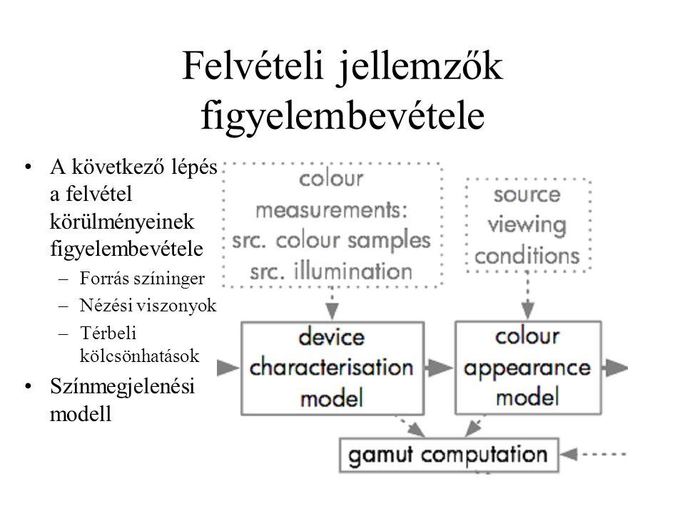 Felvételi jellemzők figyelembevétele A következő lépés a felvétel körülményeinek figyelembevétele –Forrás színinger –Nézési viszonyok –Térbeli kölcsönhatások Színmegjelenési modell