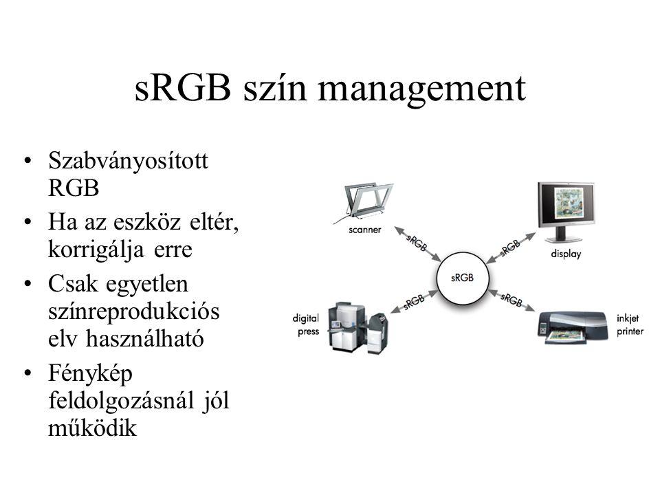sRGB szín management Szabványosított RGB Ha az eszköz eltér, korrigálja erre Csak egyetlen színreprodukciós elv használható Fénykép feldolgozásnál jól működik
