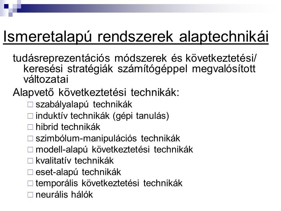 tudásreprezentációs módszerek és következtetési/ keresési stratégiák számítógéppel megvalósított változatai Alapvető következtetési technikák:  szabályalapú technikák  induktív technikák (gépi tanulás)  hibrid technikák  szimbólum-manipulációs technikák  modell-alapú következtetési technikák  kvalitatív technikák  eset-alapú technikák  temporális következtetési technikák  neurális hálók