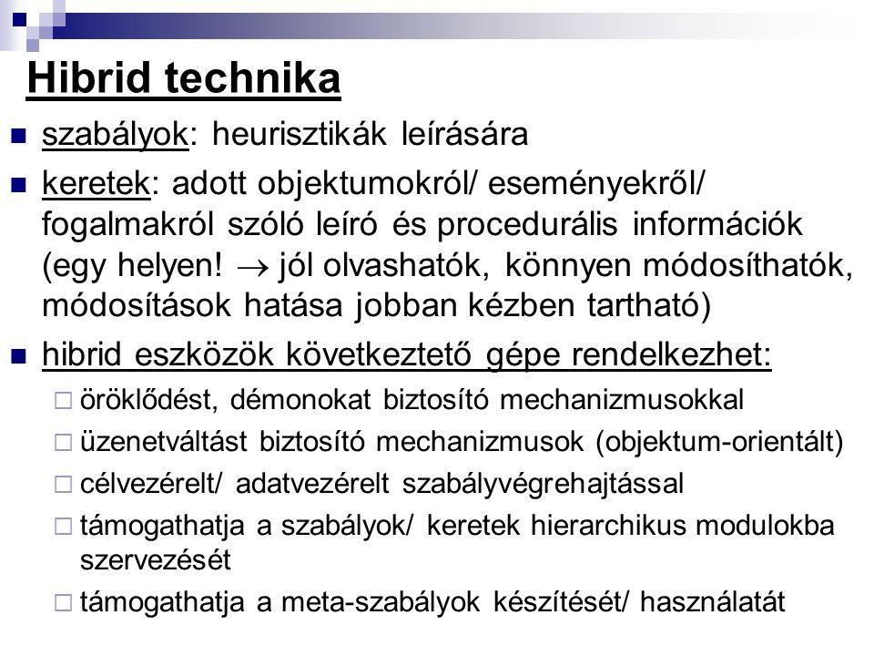 Hibrid technika szabályok: heurisztikák leírására keretek: adott objektumokról/ eseményekről/ fogalmakról szóló leíró és procedurális információk (egy
